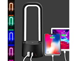 Night Light Lamp 3 Way Dimmable Touch Bedside Table Lamp with 2 USB Charging Ports and 1 Type C Port,LED RGB Light for Bedroo