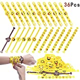 ZesGood 36 Pack Party Bag Fillers Soft Emoji Bracelet Emoji Rubber Bracelet,Wristbands Party Bag Toys, Funny Children 36 Pack in 3 Designs