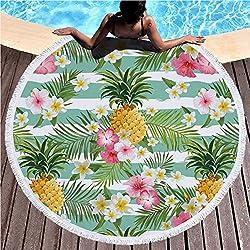 Uniuooi - Toalla de playa redonda flamenco de microfibra extra grande, supersuave, 540 g, toalla de playa para niños, niñas, mujeres, hombres, al aire libre, vacaciones, yoga, camping, etc., Microfibra, Pineapple & Floral, Large
