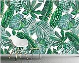 MuralXW Fondo de Pantalla Seductor Claro Pintado a Mano Bosque Tropical Tropical Pintado a Mano Hoja de plátano Fondo de TV Fondo de pantalla-200x140cm