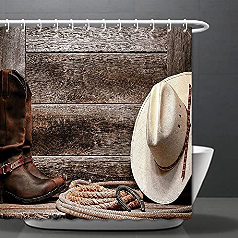 Western Decor Collection American West Rodeo Traditional Straw Cowboy Hat with Authentic Leather Boots Print Polyester Fabric Bathroom Shower Curtain Set Beige Brown ¸±±¾