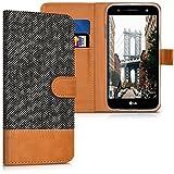 kwmobile Hülle für LG X power 2 - Wallet Case Handy Schutzhülle Kunstleder - Handycover Klapphülle mit Kartenfach und Ständer Anthrazit Braun