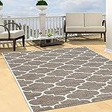 Teppich Flachflor Modern Outdoor fest Geknüpft Outside verschiedene Designs NEU, Größe in cm:160 x 230 cm;Sunset:Gitter-Beige