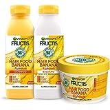 Garnier Fructis Hair Food Banana Nutriente, Kit con Shampoo, Balsamo e Maschera per Capelli Secchi, 98% di Ingredienti di Ori