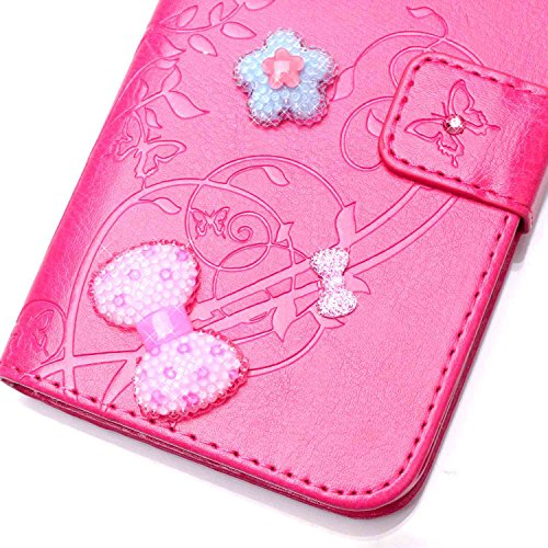iPhone 6 6S Hülle,iPhone 6 6S Case,Cozy Hut ® Ultra Slim Flip Lederhülle / Ledertasche / Hülle / Case / Cover / Etui / Tasche für iPhone 6 6S (4,7 Zoll) / 3D Diamant Strass Bling Glitzer Schmetterling Rose Red
