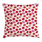 ZHIZIQIU Kiss Throw Pillow Cushion Cover, Vivid Colored Sexy Lips Glamour Fashion Cosmetics Make up Theme Girls Pattern, Decorative Square Accent Pillow Case, 18 X 18 inches, Pink Red Rose Peach