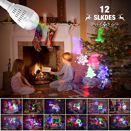 Apeanut LED-Projektor HalloweenWeihnachten Dekoration Projektor für Schlafzimmer Weihnachten Geburtstag Hochzeit zu Hause, LED Projektor Lichter mit 12 Motiven E27 Lampe Lampen-Projektor