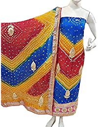 Jaipuri Rajasthani Suit Art Silk Bandhej Gota Patti Work Multi Color - B077T8BHR2