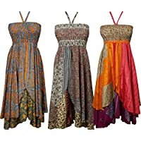 Boho Chic Designs Womens Hyacinth Hi Low Halter Dress 2 Layer Upcycled Silk Sari Resort Wear Dress S Lot Of 3 Set