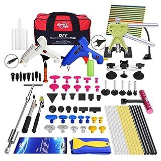 Autoreparaturkit zum Ausbeulen, keine Lacke, für Hagel-Schäden, Ausbeulhammersatz, Zieher, Heber, PDR-Kits, mit Werkzeugtasche, 74 Teile
