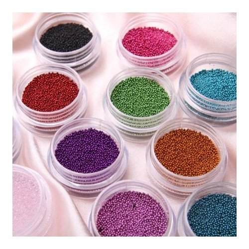 Five Season Mode Caviar Nails Art New 12 couleurs Plastique Perles Nail Art Déco d'Ongles