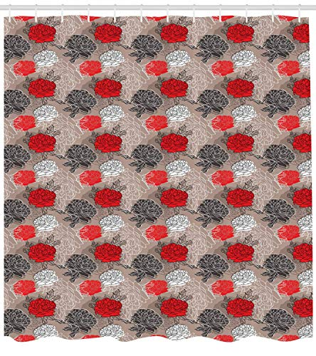 Red and Black Shower Curtain, Blossoming Peonies Vintage Botanical Composition Abstract Petals and Buds, Cloth Fabric Bathroom Decor Set with Hooks, 60W X 72L Inche Extra Long, Multicolor