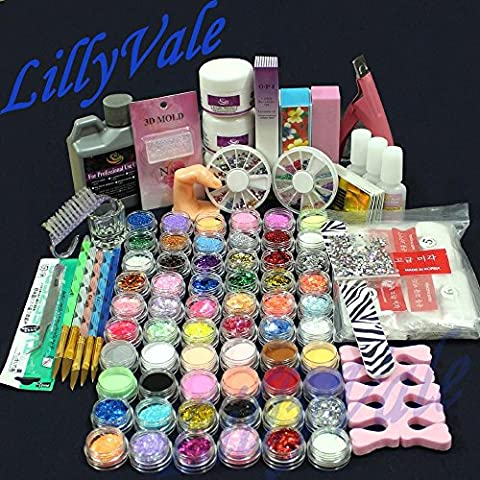 Full 60 Acrylic Powder Glitter Liquid Nail Art Kits Set Tip Brush Glue NAK-60A by Lillyvale