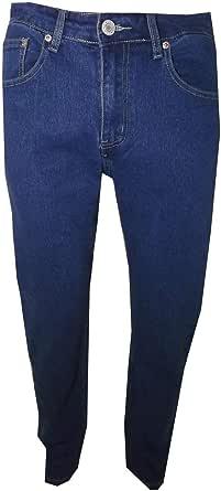 Jeans da Uomo Regular Fit Taglie Forti Pantaloni in Tela Denim a Vita Alta con Una Gamba Dritta Elasticizzato Blu Azzurro Taglia 46 48 50 52 54 56 58 60 62 64 66
