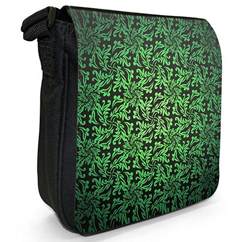 Elegante Blumentapete Kleine Schultertasche aus schwarzem Canvas Grün