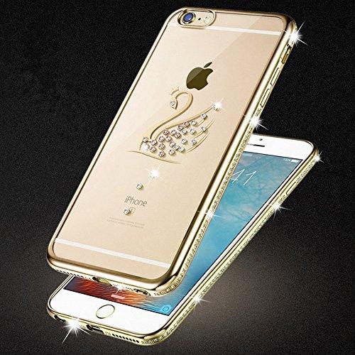iPhone 6S-6 Hülle Glitzer-Strass Case Schutzhülle (4,7 Zoll) im stylishen Glamour glitzer Crystal Look mit Strassteinen und Aufdruck für das iPhone 6S-6 - Farbe: Gold - Nur original von THESMARTGUARD gold - Schwan