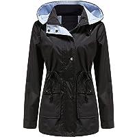 YFFUSHI Women Long Sleeve Lightweight Waterproof Windbreaker Hooded Breathable Windproof Outdoor Jacket