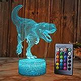 XEUYUTR Giocattoli per dinosauri per bambini Dinosauri per bambini Luce notturna Regali di compleanno di Natale con telecomando 16 colori che cambiano lampade da comodino per neonati Bambini Zio Amici