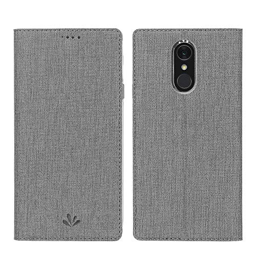 DDJ LG Q7 Plus / Q7 / Q7α Hülle, Wasserdicht PU Leder Flip Klappbares Case Cover Standfunktion Kartenfach TPU Stoßstange Wallet Holder Schutzhülle Handyhülle für LG Q7 Plus 5.5'' (Grau)