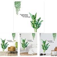 1 Lot D'autocollants Muraux Feuilles Vertes Géantes, 90 x 60 cm Feuilles de Palmier Plantes Stickers Muraux Avec Slogan…