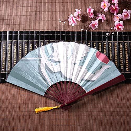 WYYWCY Handfächer Netter Amor Mit Pfeil Und Bogen Mit Bambusrahmen Quaste Anhänger Und Stoffbeutel Großer Fan Bambus Chinesischer Klassischer Fan Handfächer Chinesisch