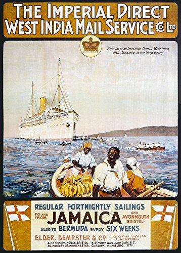 World of Art Vintage Travel Jamaika für die West Indies mit Imperial Direct West Indien Mail Service 250GSM, glänzend, A3, vervielfältigtes Poster (Indien Karte Service)