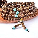 Bracelet de Perles Bouddha, 108 Perles de Prière 6mm