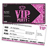 Einladungskarten Geburtstag Pink VIP | 25 Stück | Lady's Night | Inkl. Druck Ihrer Texte |Einladungen Geburtstag | Jugendweihe | Kindergeburtstag | Karte Einladung | Einladungskarte Mädchen