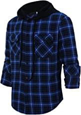 Fancyku Men's Classic Plaid Long Sleeve Hoodie Shirt