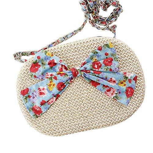 Floral Purse Bag (Crossbody Stroh Bowknot Bag Floral Wallet Woven Frauen Mode Weave Simple Beach Tote , beige)