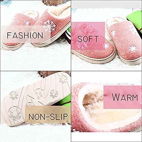 Minetom Hiver Unisex Intérieure Chaussons Coton Pantoufles Peluche Chaudes Cartoon Lapin Fond Épais Antidérapant Chaussons Hommes Femmes Slipper E- Rose