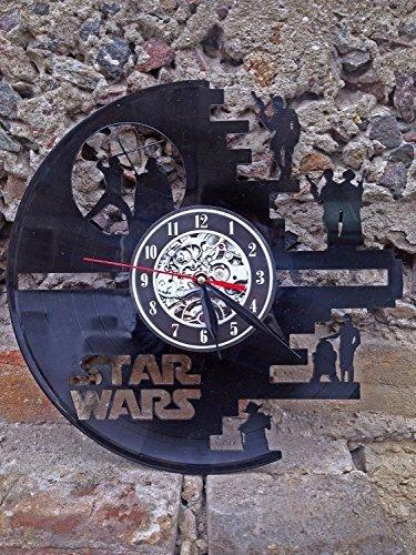 61rMoTMifDL - Meet Beauty Vinyl Star Wars Death Star diseñado Reloj de Pared LP Record -Decorate tu hogar con Moderno Grande Darth Vader Classic Vintage Art 30CM Círculo Negro