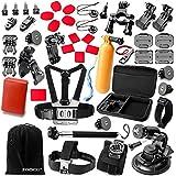Zookki Zubehör für Sports Kameras GoPro Hero 5 4 3+ 3 2 1 +SJ4000 SJ5000 SJ6000, Zubehör Bundle Set für Gopro Session + Xiaomi Yi/ Qumox SJ4000 mit Koffer + Fahrradhalterung in Radfahren Surfen