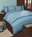 Art Moroccan King Size Quilt Duvet Cover and 2 Pillowcase Bedding Linen Set, Polycotton, Blue