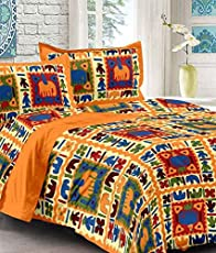 UniqChoice 100% Pure Cotton New Jaipuri Traditional King Size Double Bedsheet with 2 Pillow Cover (Jaipuri BedSpreads)