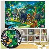 Great Art Poster Fotografico per la Stanza Die Bambini Giungla degli animlai Poster Decorazione Jungle Animals Zoo Natura Safari Avventura Tigre Leone Elefante Scimmia I Fotomurales by (210x140 cm)