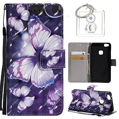 Preisvergleich Produktbild für Huawei P10 Lite (5,2 Zoll) Hülle, Retro 3D Muster PU Leder Hülle Wallet Case Folio Schutzhülle in mit Standfunktion Karteneinschub und Etui Flip Case Schutzhüllen +Schlüsselanhänger (P) (4)