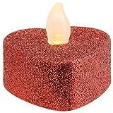 MACOSA NO88164 4er Set LED Teelicht Herz | Rot Glitzer | Hochzeits-Dekoration | inkl. Batterie | Warm-Weiß | LED Kerzen | Tisch-Deko | Romantik