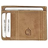 Azrajamil Ultra Slim Genuine Pure Leather Hand Crafted Texas Finish Card Holder Wallets For Men Premium Finish, 4 Card Slots, 1 Note Holders, Id Card Slot, High Quality (Olive)
