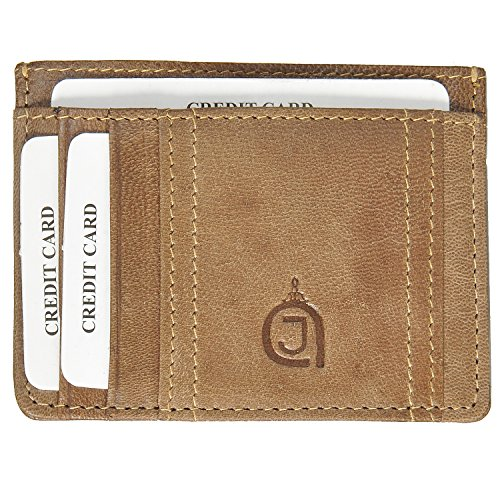 AzraJamil Slim Genuine Leather Olive Green Credit Card & Note Holder (Tumi Wallet Passport)