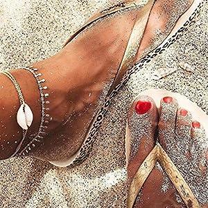LnLyin Böhmischen Stil natürliche Muschel Fußkettchen einfache Quaste Fußkettchen Handgestrickte Halskette Schlüsselbein Kette