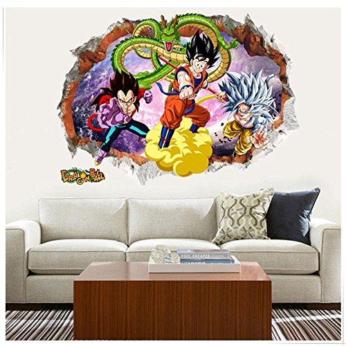 (JUNMAONO Dragon Ball Z SON Goku Wandaufkleber/Wandgemälde/Wand Poster/Wandbild Aufkleber/Wandbilder/Wandtattoo/Tapete/Tapezieren/Tapeten/Wand Zeitung/Instant Aufkleber (50 * 70cm))