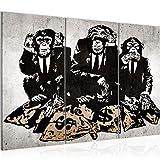 Bilder Banksy Street Art Affen Wandbild 120 x 80 cm - 3 Teilig Vlies - Leinwand Bild XXL Format Wandbilder Wohnzimmer Wohnung Deko Kunstdrucke Braun MADE IN GERMANY Fertig zum Aufhängen 303431b