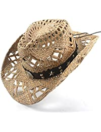 Gr Frauen-Mann-Mischungs-Cowboy-Hut 100% natürliche Stroh Handwork Webart-Cowboy-Hüte für Dame Vati (Color : BBH, Größe : 56-58CM)