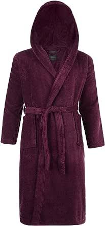 Adore Home Mens & Ladies 100% Cotton Terry Towelling Hooded Shawl Collar Bathrobe Dressing Gown Bath Robe