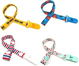 Forberesten 4 Pack Baby Pacifier Clips Pacifier Holder Straps for Boys and Girls (Style-1)