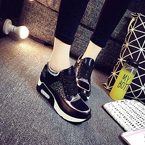 solshine Femme Tendance Pailette Sneakers Chaussures de sport Chaussures de Course Runners Plateau Noir - Noir
