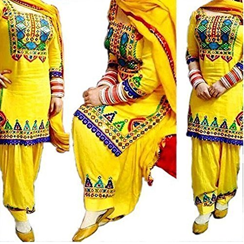 Clothfab Women Cotton Heavy Embroidery Work Pary Wear Patialas Style Semi-Stitched Salwar...