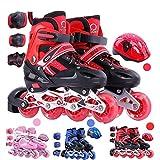 GFF SHOP GFF SHOP PU-Full-Flash-Softrad, verstellbare Schlittschuhe/wasserdicht/atmungsaktiv/Inline-Skates für Erwachsene,Red,L
