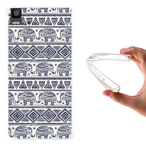 WoowCase Bq Aquaris E5s - E5 4G Hülle, Handyhülle Silikon für [ Bq Aquaris E5s - E5 4G ] Blauer Elefant Handytasche Handy Cover Case Schutzhülle Flexible TPU - Transparent